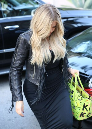 Khloe Kardashian in Tight Dress Out in Beverly Hills