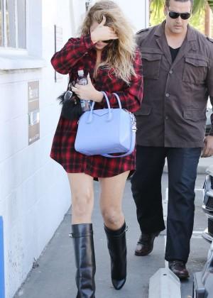 Khloe Kardashian in Red Shirt Out in LA