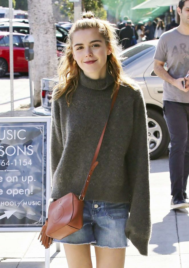 Kiernan Shipka in Jeans Shorts out in Los Angeles