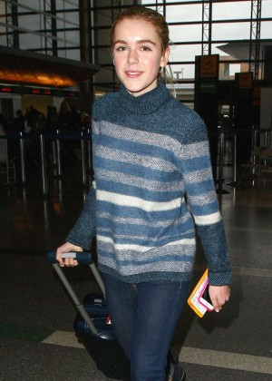 Kiernan Shipka in Jeans at LAX Airport in LA