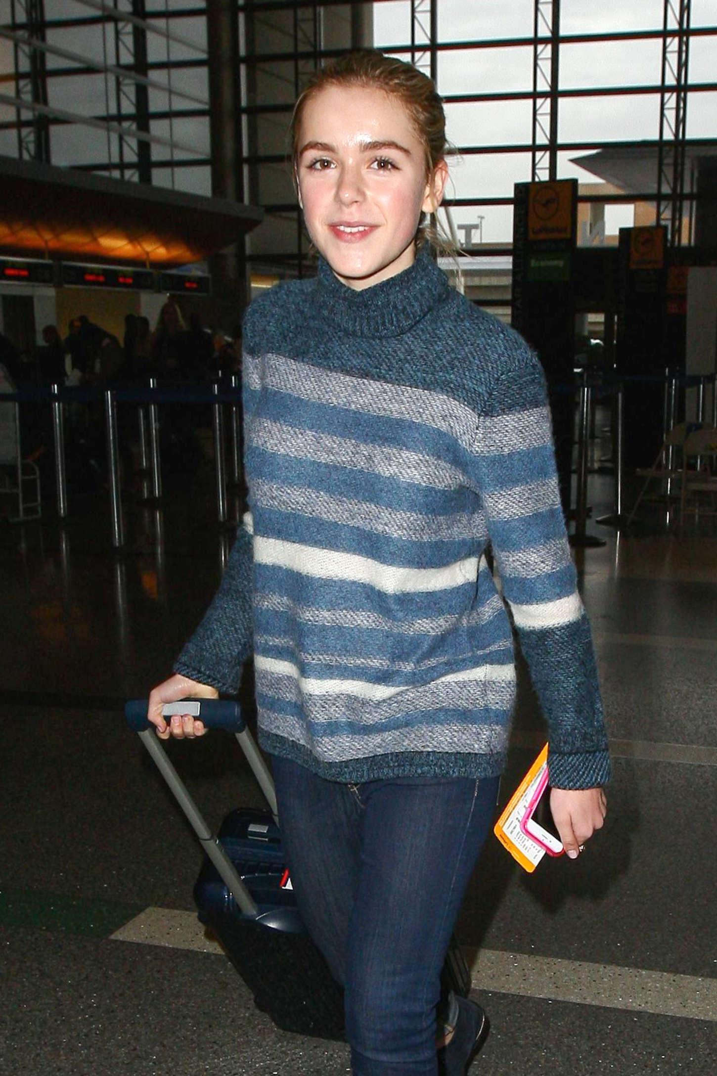 Kiernan Shipka in Jeans at LAX Airport in LA