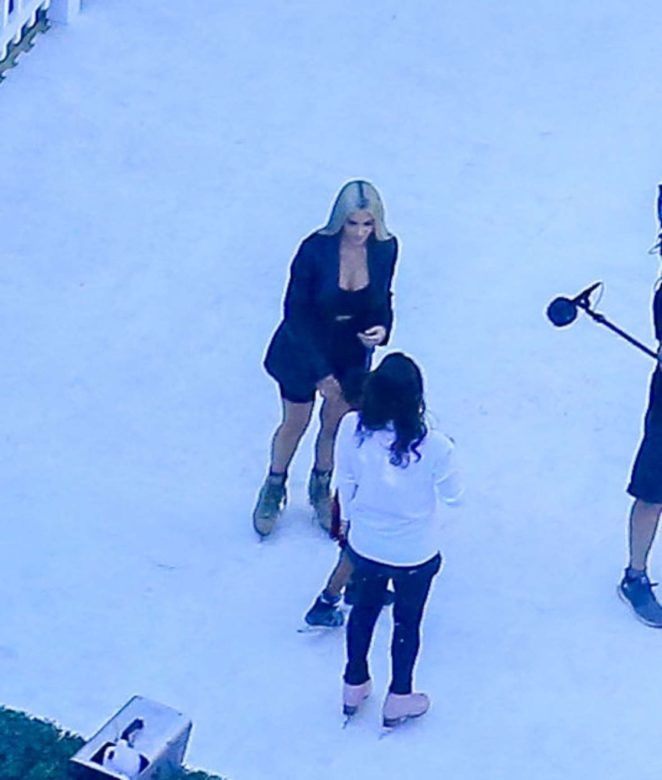 Kim and Khloe Kardashian and Kris and Kylie Jenner filming Keeping Up With The Kardashians in LA