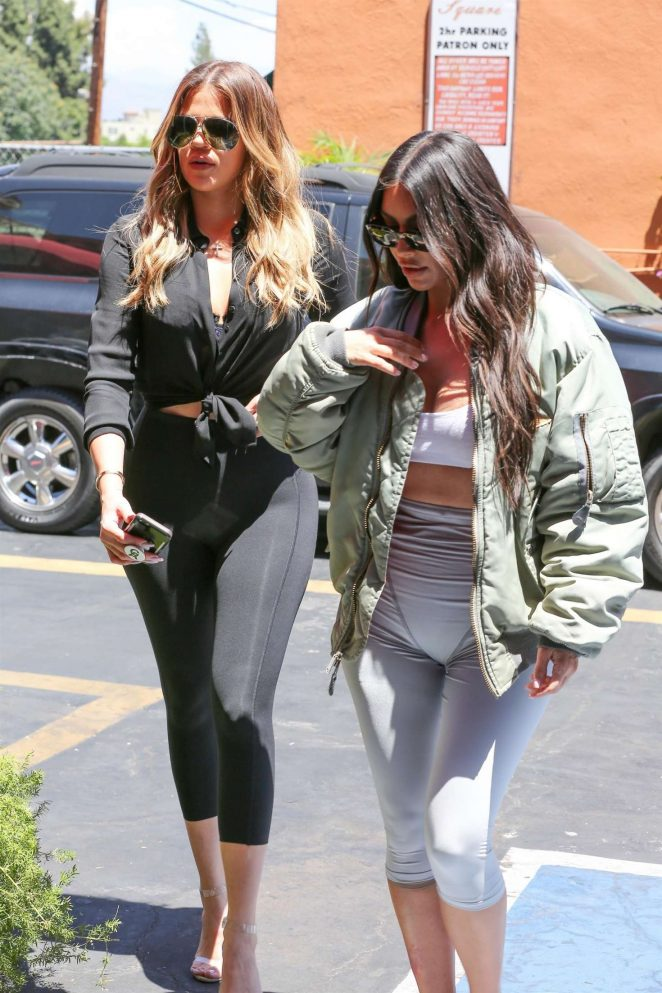 Kim and Khloe Kardashian filming their reality show in Studio City