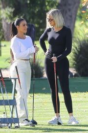 Kim and Khloe Kardashian - Seen golfing in Los Angeles