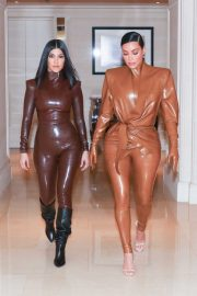 Kim and Kourtney Kardashian - Heading to Kanye West's Sunday Service in Paris