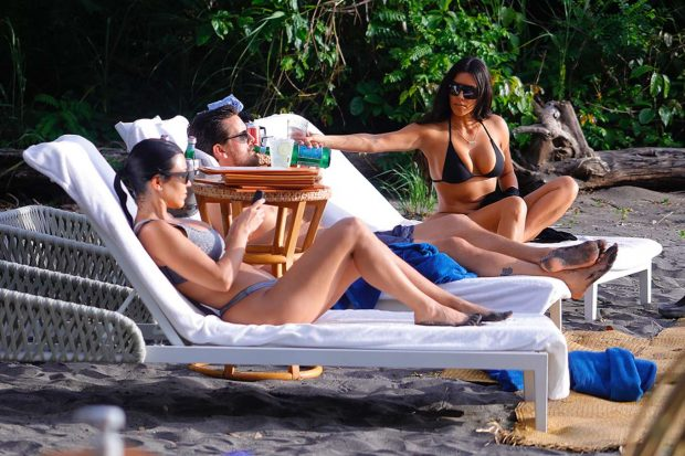 Kim and Kourtney Kardashian in Bikini on vacation in Puntarenas