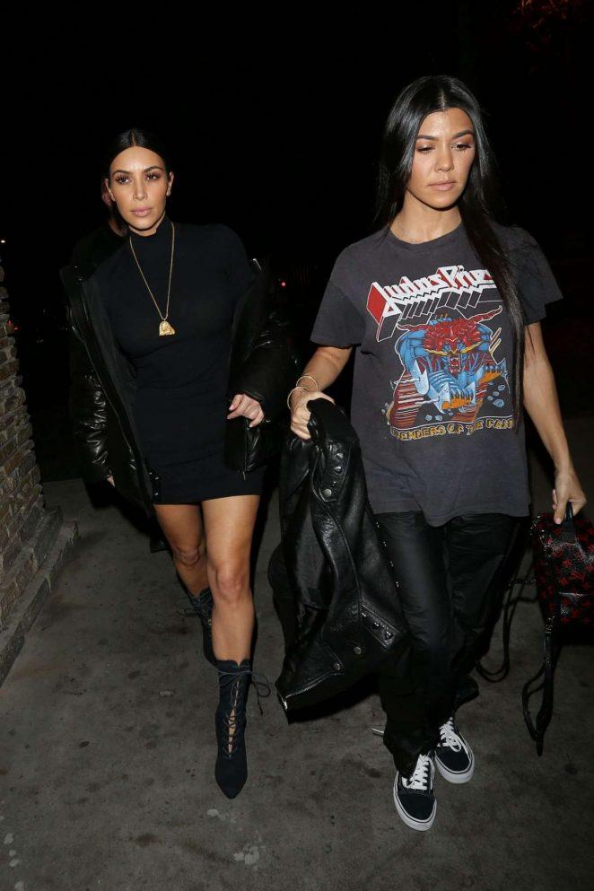 Kim and Kourtney Kardashian Night Out in Los Angeles