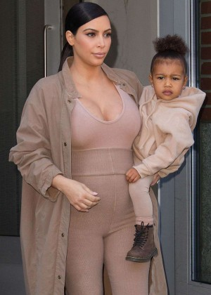 Kim Kardashian and Daughter North West Leaving Apartment in NYC