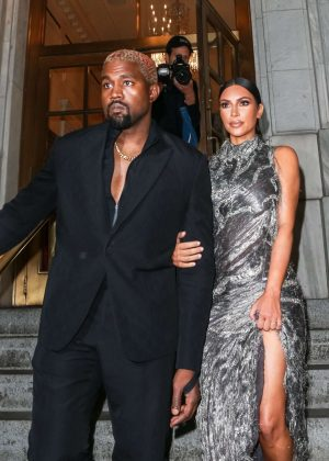 Kim Kardashian and Kanye West - Arrives at Cher Musical in New York
