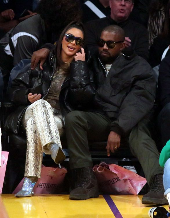 Kim Kardashian and Kanye West - Cleveland Cavaliers vs Los Angeles Lakers at Staples Center in LA