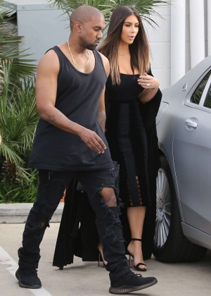 Kim Kardashian and Kanye West out in Van Nuys