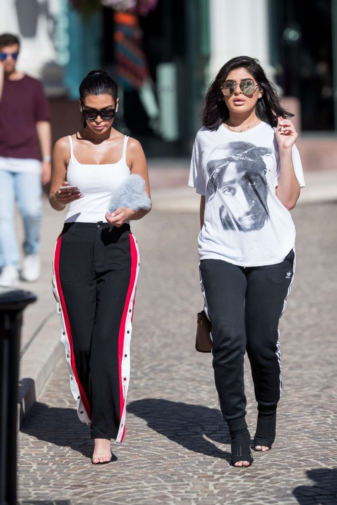 Kim Kardashian and Kylie Jenner Shopping in Beverly Hills