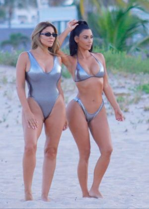 Kim Kardashian and Larsa Pippen in Bikini - Photoshoot at a beach in Miami
