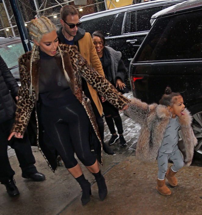 Kim Kardashian and North West out in New York -01