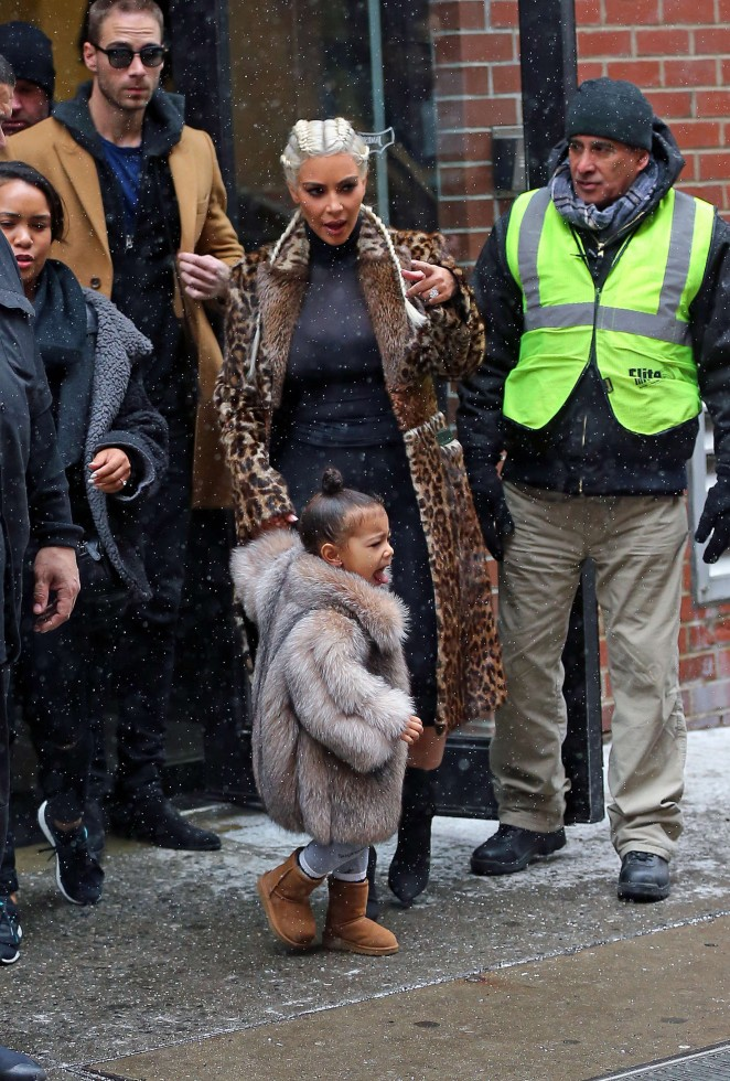 Kim Kardashian and North West out in New York -02