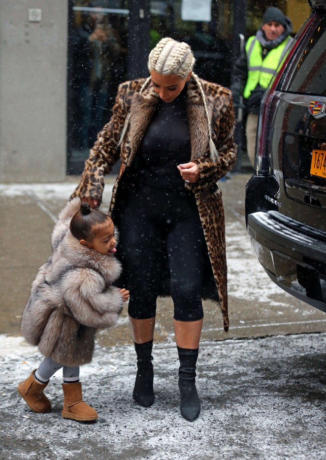 Kim Kardashian and North West out in New York -03
