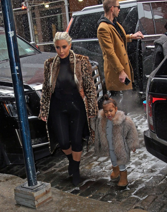 Kim Kardashian and North West out in New York -06
