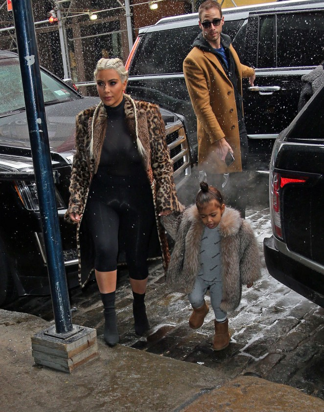 Kim Kardashian and North West out in New York -07