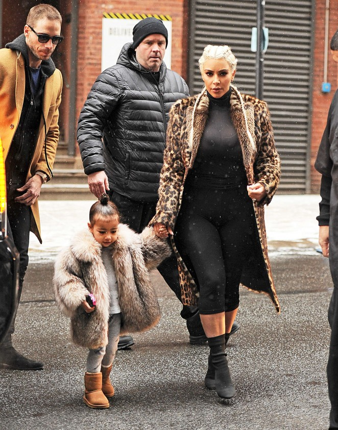 Kim Kardashian and North West out in New York -12