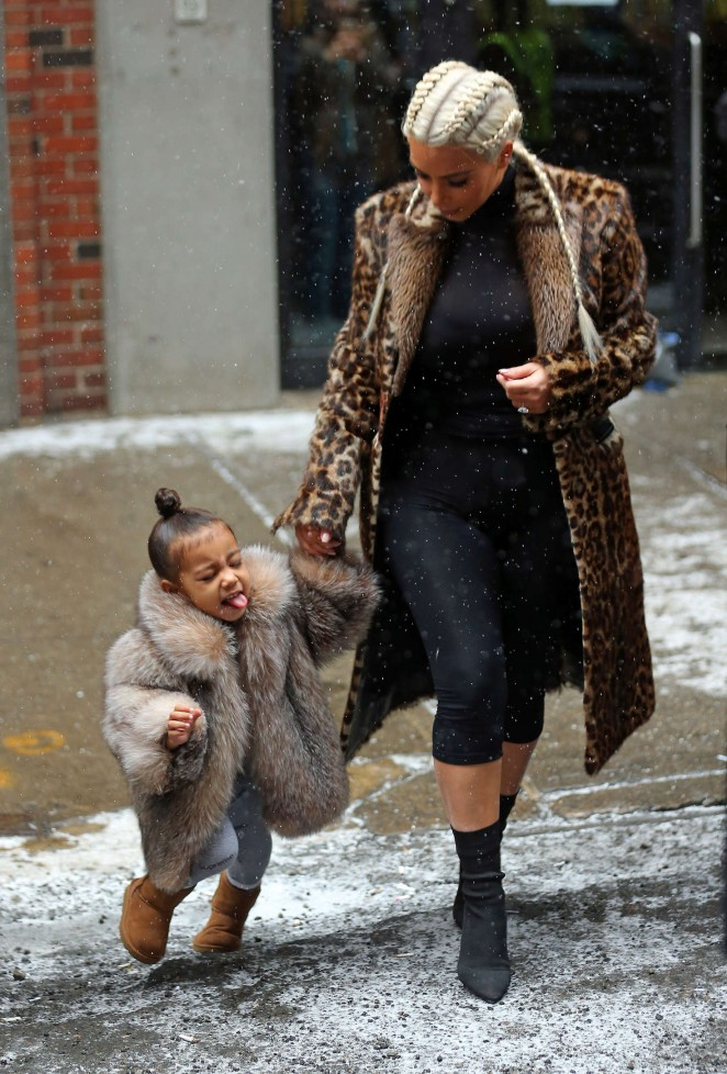 Kim Kardashian and North West out in New York