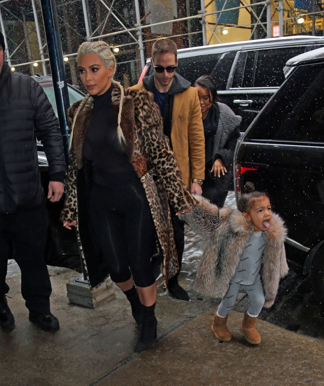 Kim Kardashian and North West out in New York -14