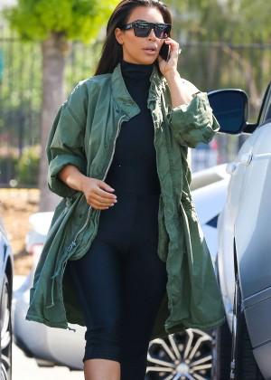 Kim Kardashian - Arrive for some fun at a skating rink in Glendale