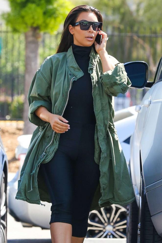 Kim Kardashian – Arrive for some fun at a skating rink in Glendale