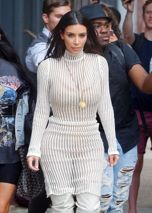 Kim Kardashian arrives to Kylie and Kendall Pop up event in New York