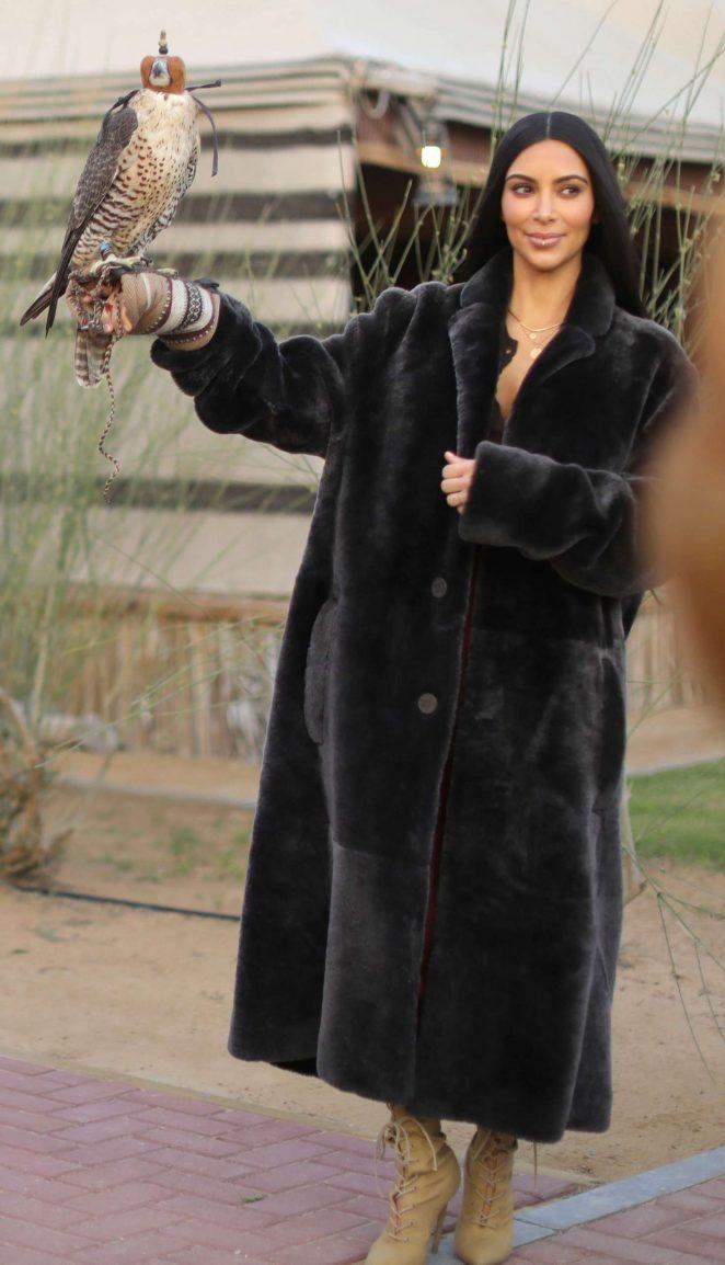 Kim Kardashian at ATV riding in the desert in Dubai