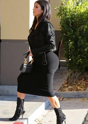 Kim Kardashian in Black Tight Skirt -03