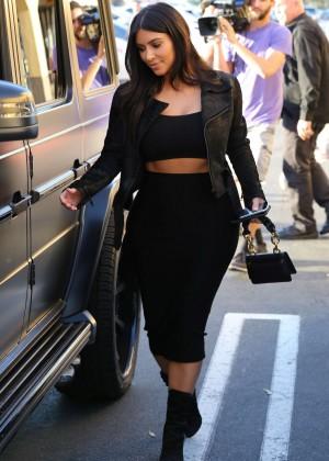 Kim Kardashian in Black Tight Skirt -06