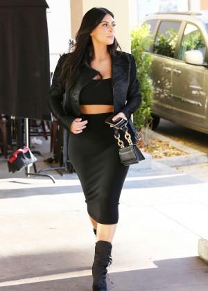 Kim Kardashian in Black Tight Skirt -07