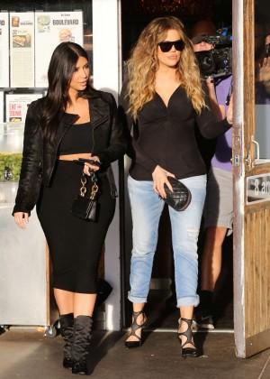 Kim Kardashian in Black Tight Skirt -08