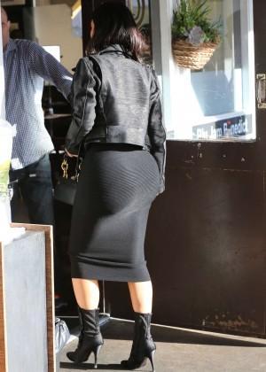 Kim Kardashian in Black Tight Skirt -10