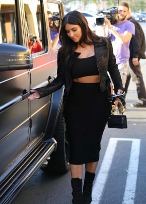 Kim Kardashian in Black Tight Skirt -11