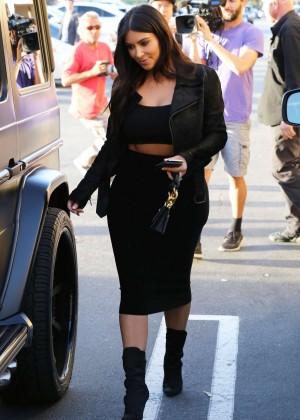 Kim Kardashian in Black Tight Skirt -13