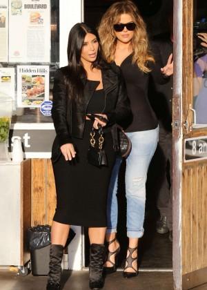 Kim Kardashian in Black Tight Skirt -15