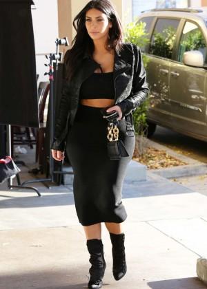 Kim Kardashian in Black Tight Skirt -17