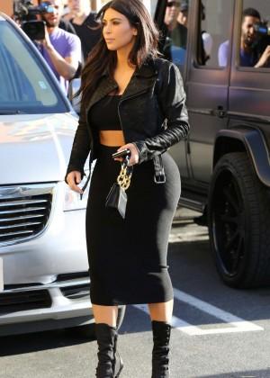 Kim Kardashian in Black Tight Skirt -26