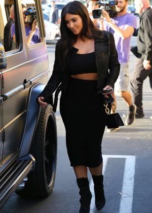 Kim Kardashian in Black Tight Skirt -33