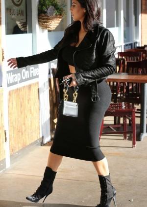 Kim Kardashian in Black Tight Skirt -34