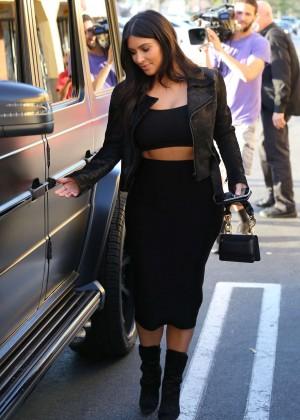 Kim Kardashian in Black Tight Skirt -36