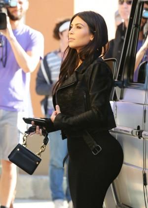 Kim Kardashian in Black Tight Skirt -44