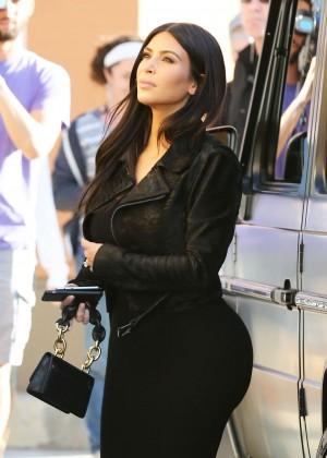 Kim Kardashian in Black Tight Skirt -47