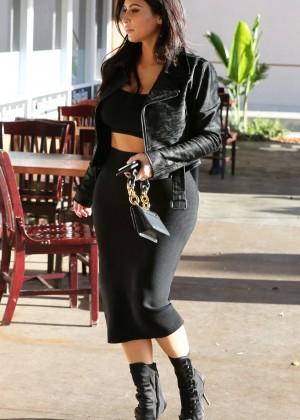 Kim Kardashian in Black Tight Skirt -51