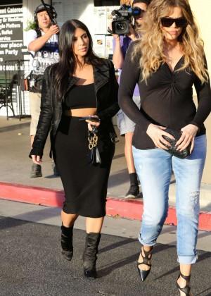 Kim Kardashian in Black Tight Skirt -64
