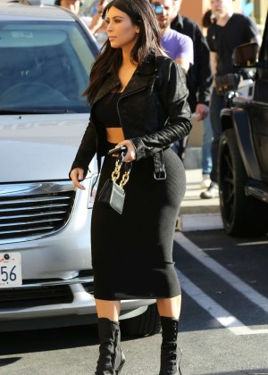 Kim Kardashian in Black Tight Skirt -66