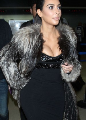 Kim Kardashian in Black Dress at LAX Airport in LA