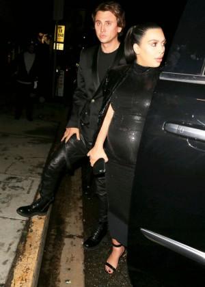 Kim Kardashian in Leather Dress -07