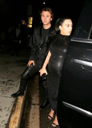 Kim Kardashian in Leather Dress -10